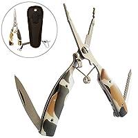 STARMAX フィッシングプライヤー 釣り具 ツール 多機能釣り用ペンチ 釣りペンチ ステンレス 専用ケースと安全ロープ付き 迷彩柄