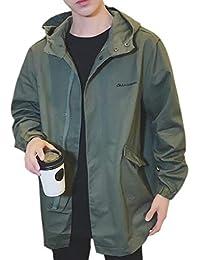 Fly Year-JP メンズジップフロント長袖ウインドブレーカールーズプラスサイズジャケットコートアウター