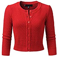 JSCEND Women's 3/4 Sleeve Crew Neck Button Down Cotton Knit Cropped Cardigan Sweater (S-3X)