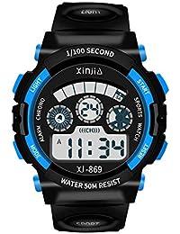 子供用腕時計 腕時計 キッズ 防水 めざまし時計 デジタル アラーム ledライト付き 時報 多機能 スポーツ腕時計 女の子 男の子 日本語説明書付き (ブルー)