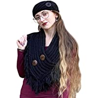 Cable Knit Button Collar Scarf With Fringe, Black