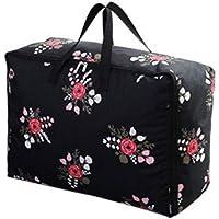 服のキルトオックスフォード布の収納袋ブラックローズパターン高品質の旅行の主催者の羽毛布団の掛け布団の仕上げ荷物の収納袋 (サイズ さいず : 60 * 50 * 28cm)