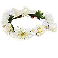 HuaQingPiJu-JP 花嫁の写真のヘッドドレス海辺のバケーションフラワーガーランド人工花のヘアバンド_Bige