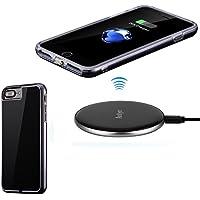 Antye Qi (チー) ワイヤレス充電器 iPhone 7 Plus - 5.5インチ、ワイヤレス充電器ケースとワイヤレス充電器パッドを含む (黒-銀)