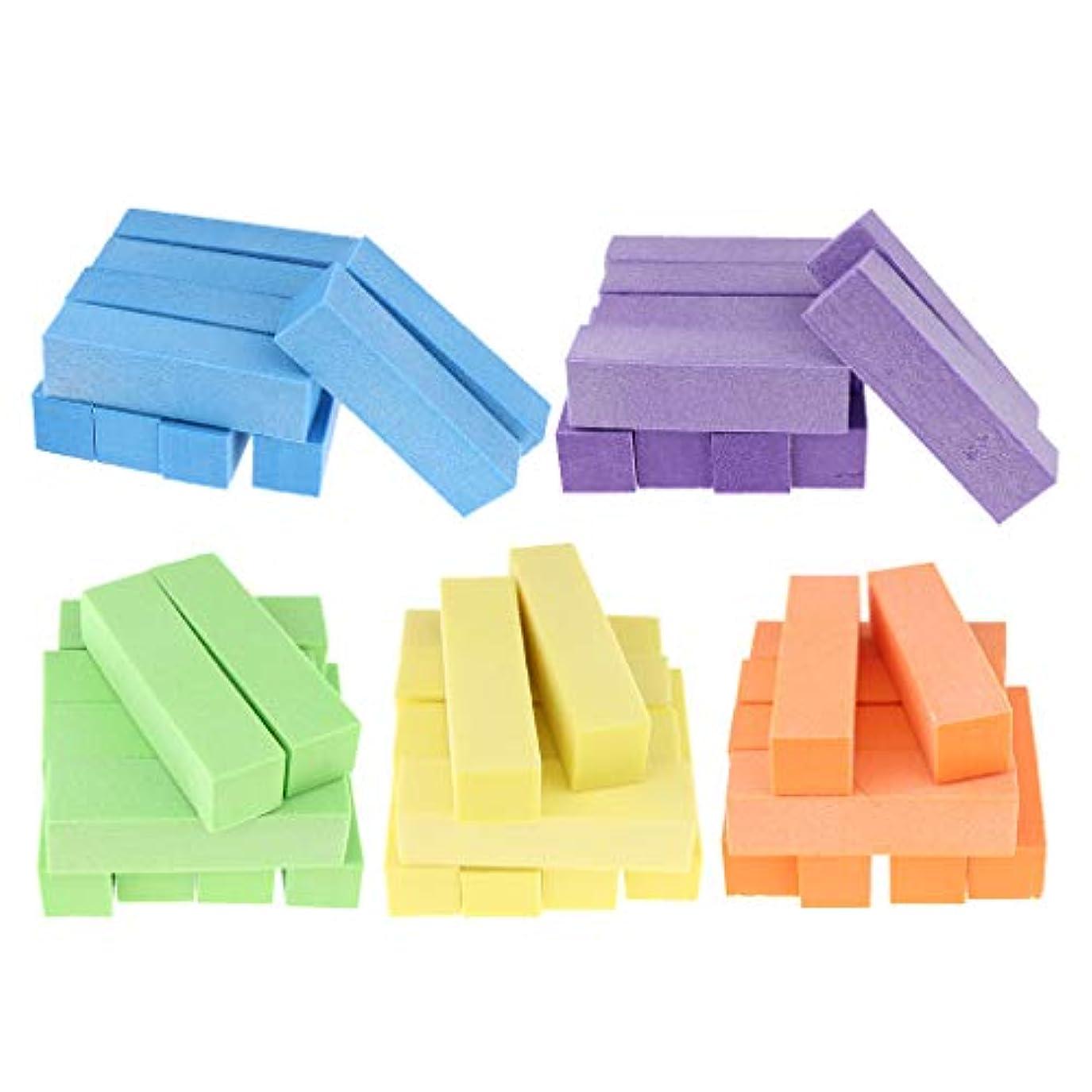 常習的息子余計なToygogo 5色ネイルファイル4ウェイネイルポリッシングサンディングバフスポンジスポンジマニキュアバッファブロック(50個/個、10個/個)