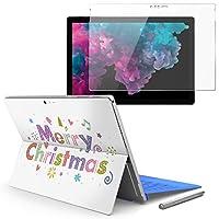 Surface pro6 pro2017 pro4 専用スキンシール ガラスフィルム セット 液晶保護 フィルム ステッカー アクセサリー 保護 クリスマス 英語 カラフル 010012