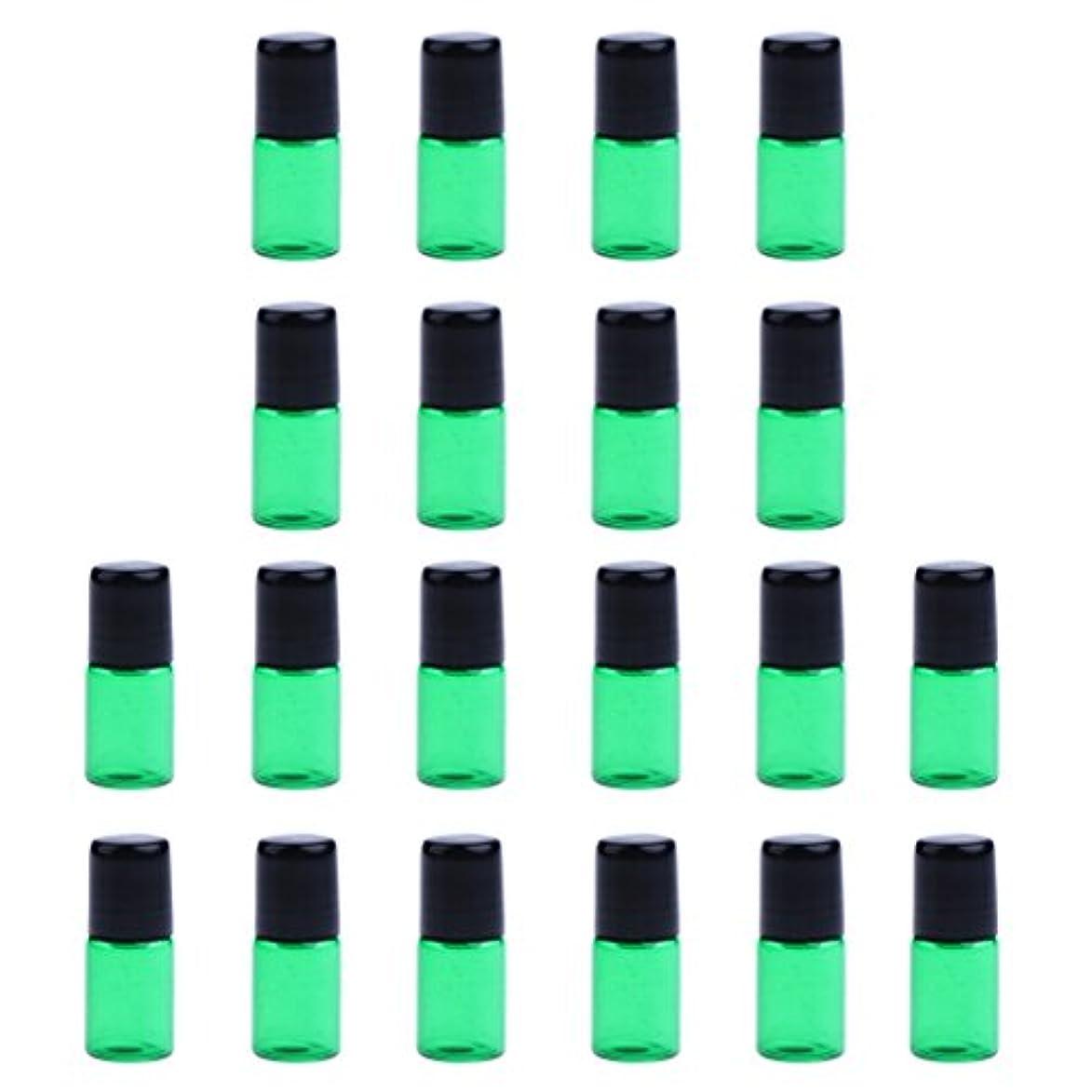 株式暴力的な魂約20個 空ボトル ガラスロール コスメ用 詰替え 容器 オイル 香水 ガラス瓶 プラスチックブラックキャップ 全4色3サイズ選べる - 緑, 3ML
