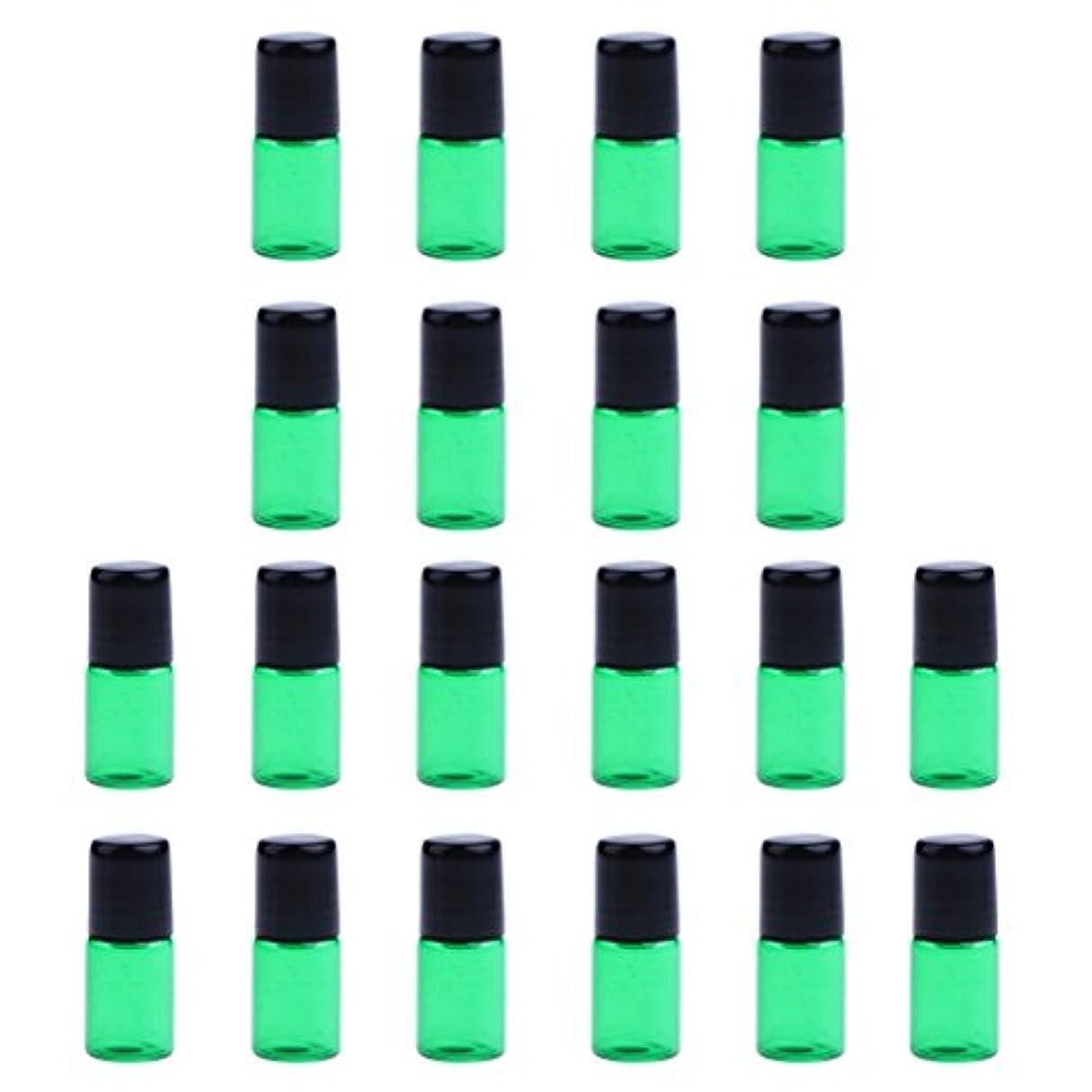 ギャラリーオート約20個 空ボトル ガラスロール コスメ用 詰替え 容器 オイル 香水 ガラス瓶 プラスチックブラックキャップ 全4色3サイズ選べる - 緑, 3ML
