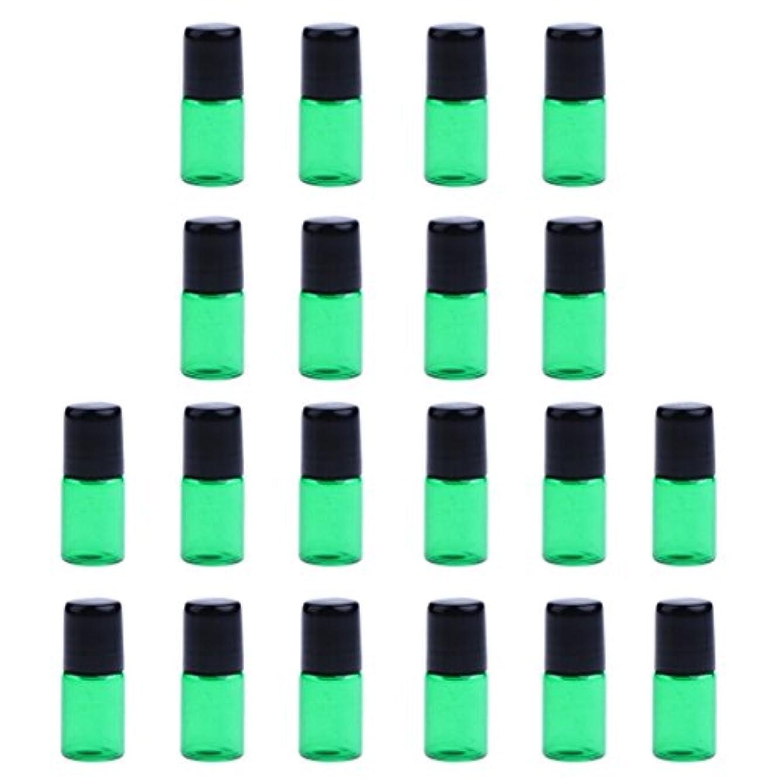 フリル健康的感じ約20個 空ボトル ガラスロール コスメ用 詰替え 容器 オイル 香水 ガラス瓶 プラスチックブラックキャップ 全4色3サイズ選べる - 緑, 3ML