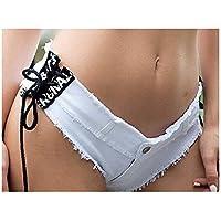 XIU Women Shorts, New Summer Women's Jeans Shorts Hot Pants Nightclub Low Waist Sexy Irregular Lace-up Design