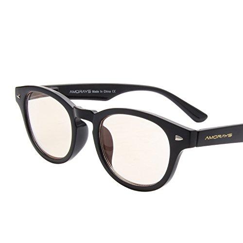 (アモレイズ) AMORAYSパソコン用メガネ パソコン用老眼鏡 リーディンググラス シニアグラス ボストン レディース メンズ 女性 男性 青色光 ブルーライトカット テレビメガネ パソコン用メガネ PCグラス PCメガネ AM509G ブラック +3.
