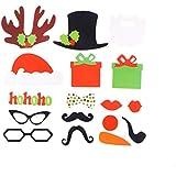 BESTOYARD 17本のおかしいクリスマスフォト小道具結婚式のパーティーフォト写真アクセサリースティックDIYキット