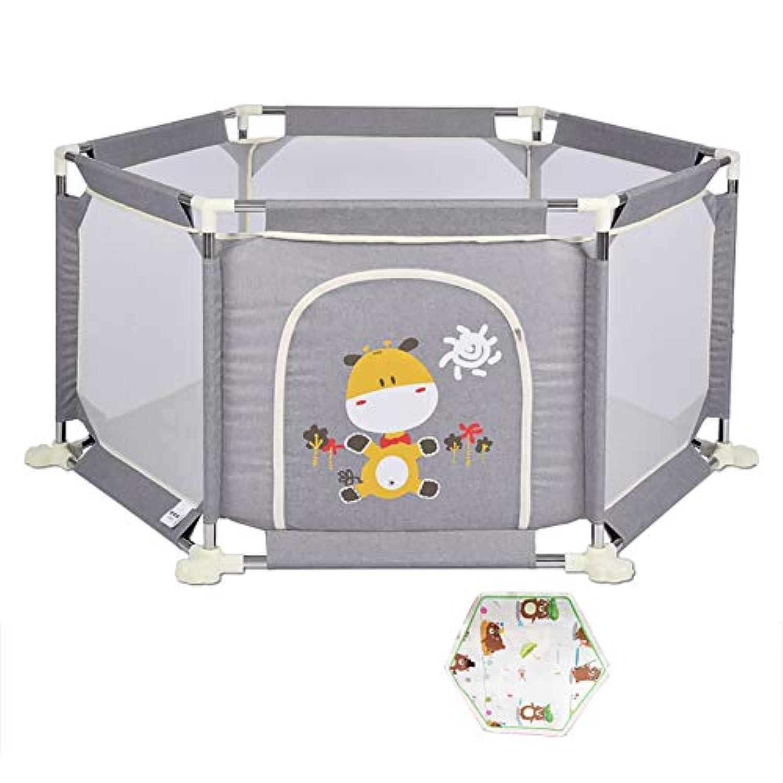 折り畳み式幼児遊び場グレーセーフティアクティビティセンター遊びゲームフェンス、反ロールオーバーアクセス可能なベビープレイグラード (色 : Playpen+mat, サイズ さいず : 67cm)