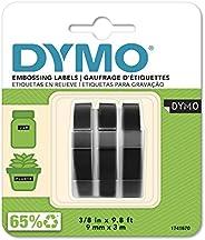 DYMO Embossing Tape, 9mm x 3m, Black, (Pack of 3)
