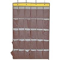 クローゼット収納 おしゃれ 人気 実用 多機能 ウォールポケット 壁掛け ウォールラック 吊り下げフック付 30仕切りポケット 小物収納グッズ マチ付き リビング収納 コーヒー色
