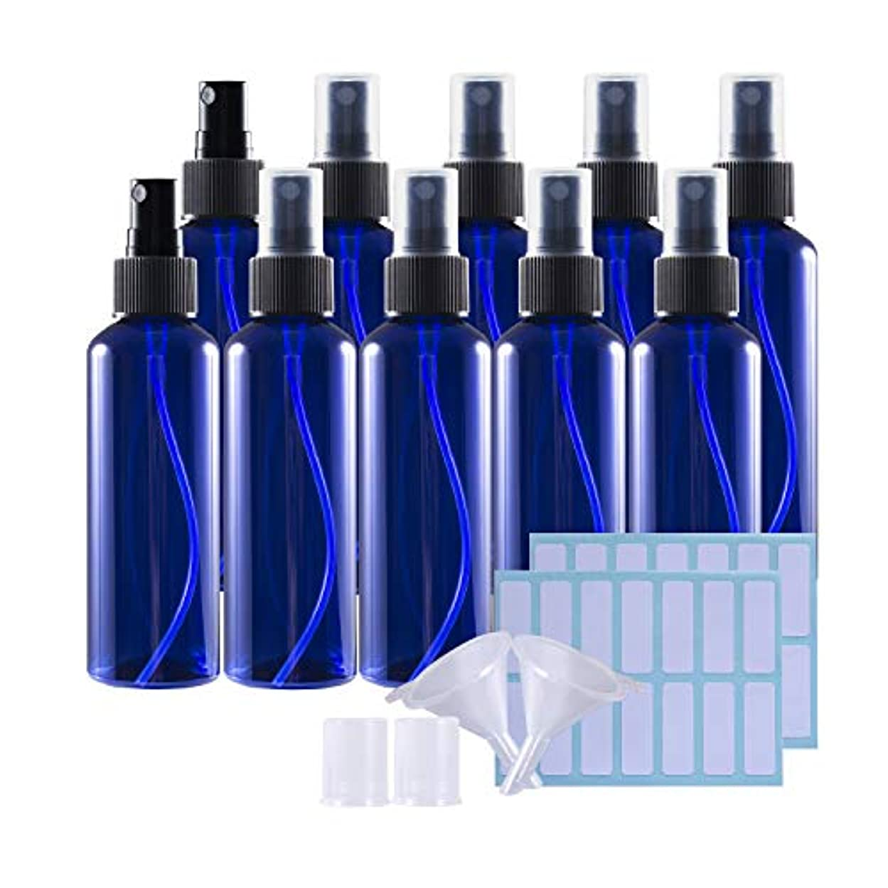 一肘サンダー100mlスプレーボトル 10個セット遮光瓶 小分けボトル プラスチック容器 液体用空ボトル 押し式詰替用ボトル 詰め替え シャンプー クリーム 化粧品 収納瓶