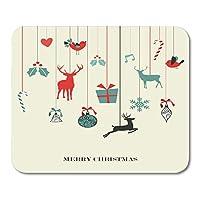 マウスパッドヴィンテージレッドヤドリギレトロクリスマスハンギングレイヤード簡単な操作とカスタムカラーリングクリスマスマウスマットマウスパッド