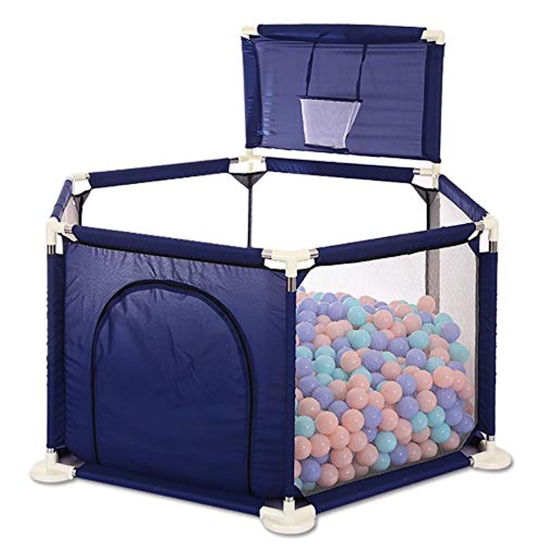 BSNOWF-ベビーサークル 青いPlayardとバスケットボールのフープ、屋内屋外の子供のゲームのフェンス、ポータブル幼児の部屋のディバイダーのフェンス