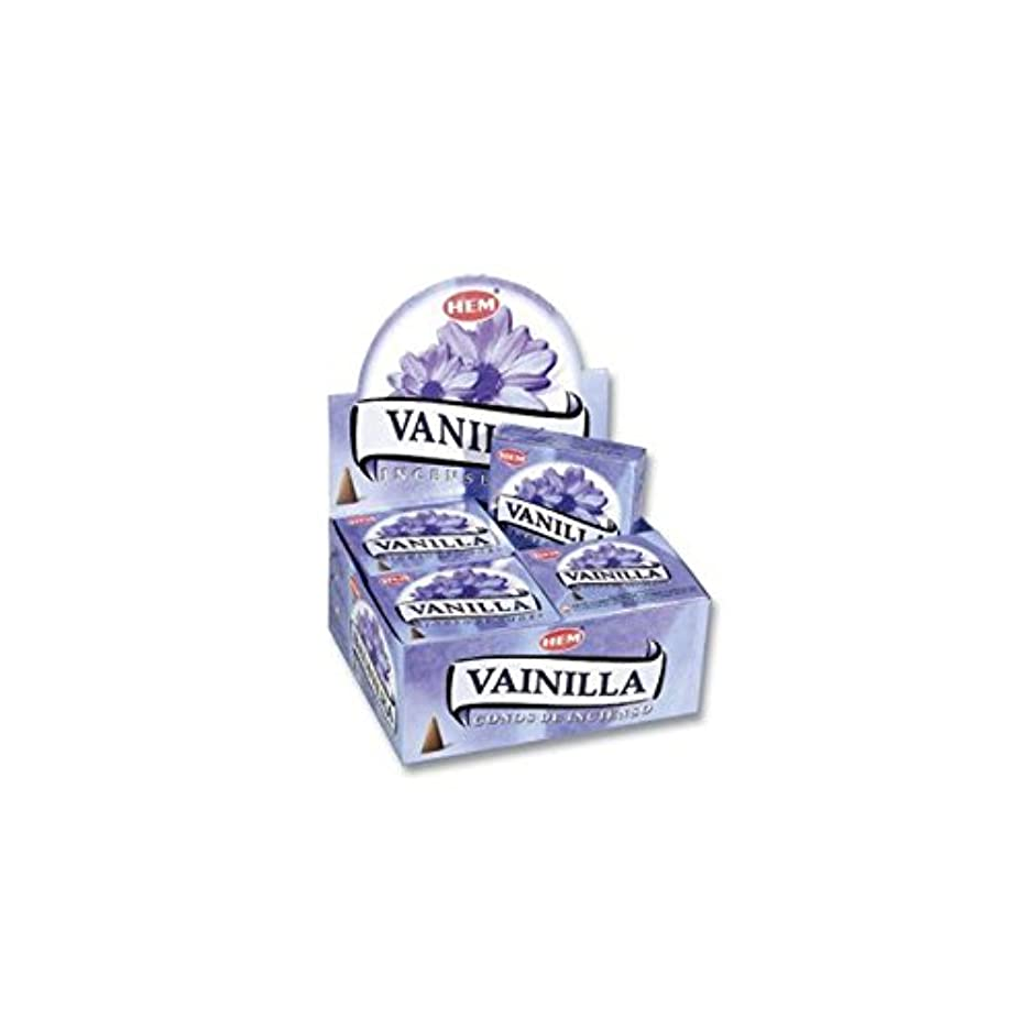 磨かれた地区鎮静剤HEM お香 バニラ(VANILLA) コーンタイプ 1ケース(12箱入り) HEMお香