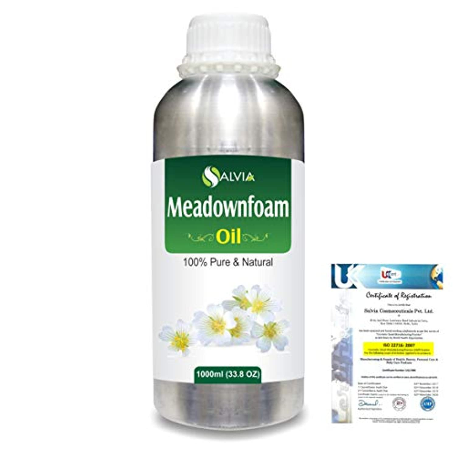 シュリンク近代化ランタンMeadowfoam Seed (Limnanthes alba)100% Natural Pure Carrier Oil 1000ml/33.8fl.oz.