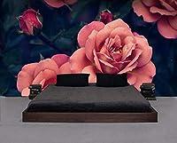 壁紙は美しい手描きのバラのテレビの背景の壁のリビングルームの寝室の背景壁画3Dの壁紙です