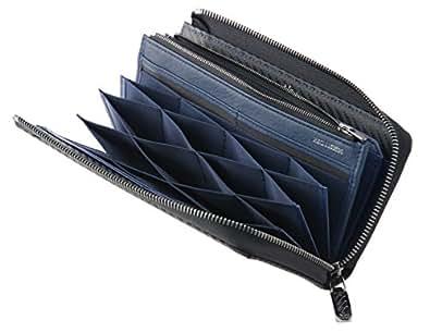 【ノイインテレッセ】ハニーセル長財布(L字ラウンドファスナー束入)■ファイバーキュアウォレット ツイルドカーボン 628(ブラック×ネイビー)