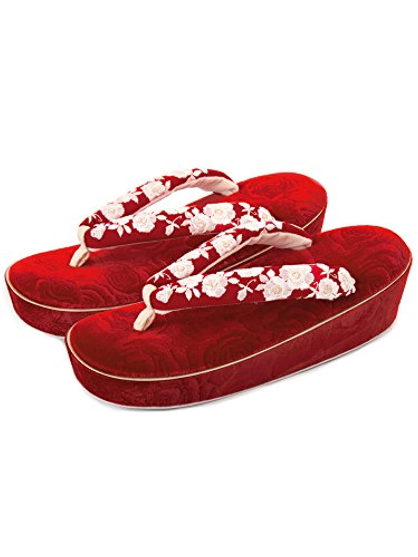 [ 京都きもの町 ] ベルベット薔薇型押 草履単品 赤 fussa 女性草履 振袖草履 レディース