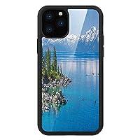 iPhone 11 Pro Max 用 強化ガラスケース クリア 薄型 耐衝撃 黒 カバーケース 景観 タホー湖の青い水雪山松の木岩リラックス海岸 ペールブルーグリーングレー iPhone 11 Pro 2019用 iPhone11 Proケース用