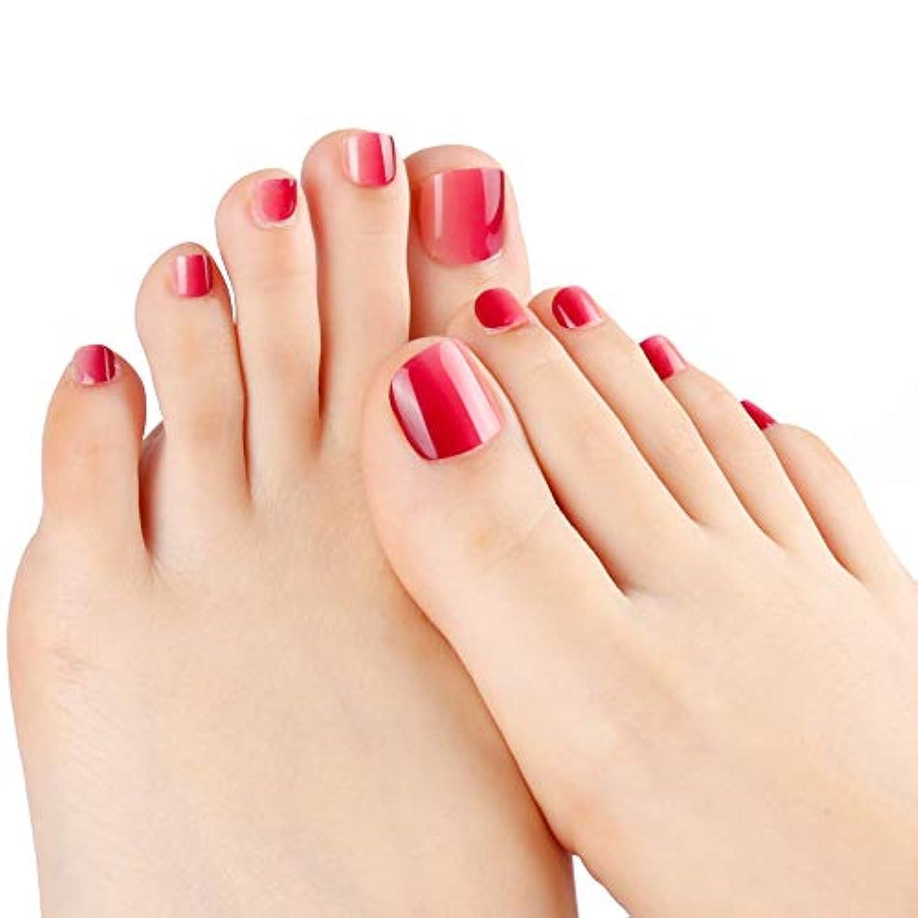 ネイルチップ 24枚 12別サイズ つや 足の爪 ピンク グラデーション 短い 四角形 フルカバー