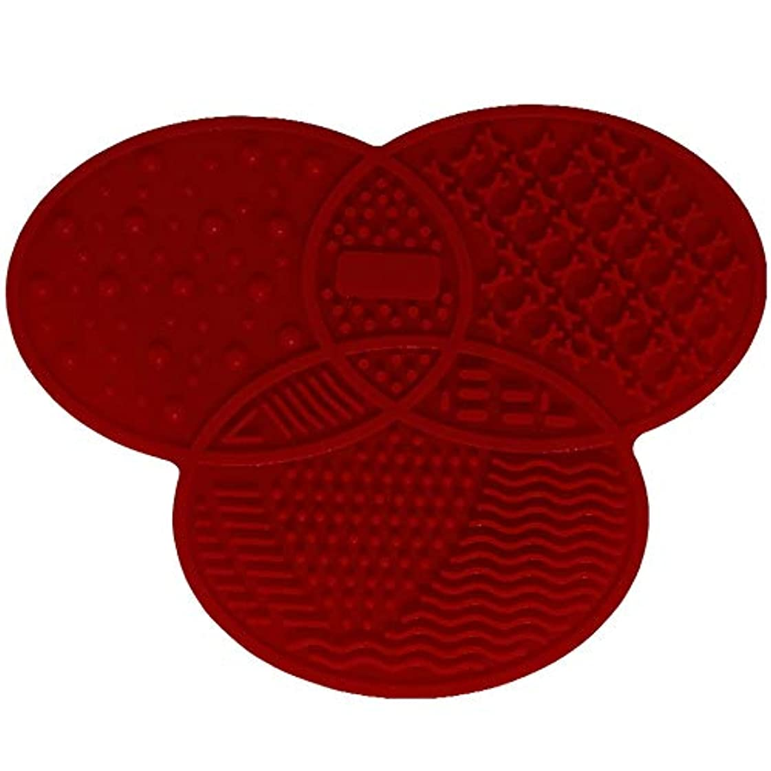鉛しなければならない可能性シリコンブラシクリーナー化粧品メイクアップウォッシュブラシジェルクリーニングマットファンデーションメイクブラシクリーナーパッドスクラブボード - レッド