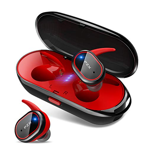 2019進化版 Bluetooth5.0 HiFi高音質 Bluetooth イヤホン 自動ペアリング 自動ON/OFF IPX6防水 完全ワイヤレス イヤホン 両耳 左右分離型 軽量 マイク付き タッチ式 Siri対応 ノイズキャンセリングAAC対応 技適認証済 日本語音声提示 ブルートゥース イヤホン iPhone/iPad/Android対応 PZX