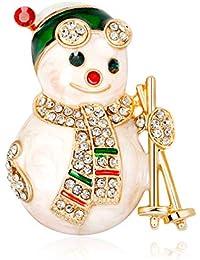 Ruikey キラキラ ファッション 雪だるまブローチ クリスマスブローチピン 可愛い おしゃれ アクセサリー プレゼント 贈り物 メンズ レディース 子供 ジュエリー 合金