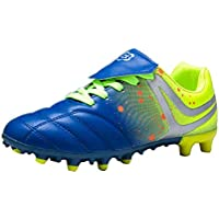 Aiweijia Unisex Kids' Outdoor/Indoor Lacing Rubber Sole Non-Slip Soccer Shoes