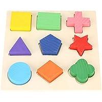 FTVOGUE 木製 形状 カラー ソーター 面白い幼児 幾何学パズル 積み重ね 組み立てブロック 早期教育玩具