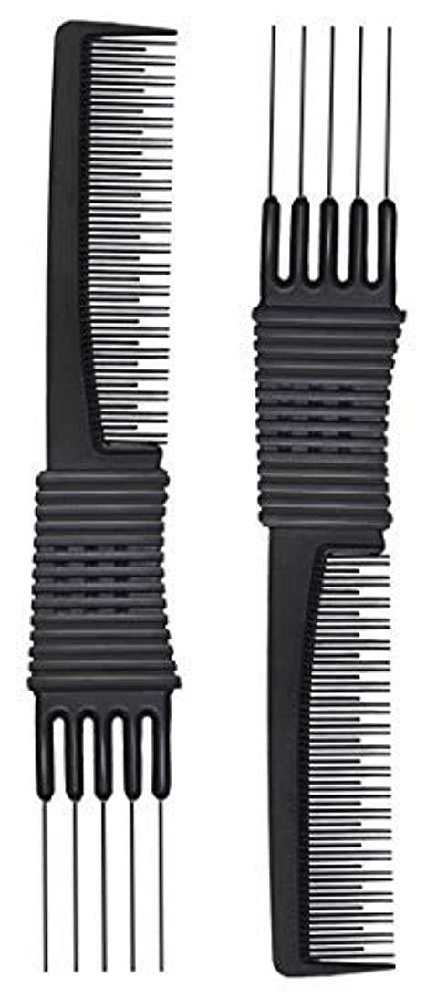 2pcs Black Carbon Lift Teasing Combs with Metal Prong, Salon Teasing Lifting Fluffing Comb with 5 Stainless Steel...