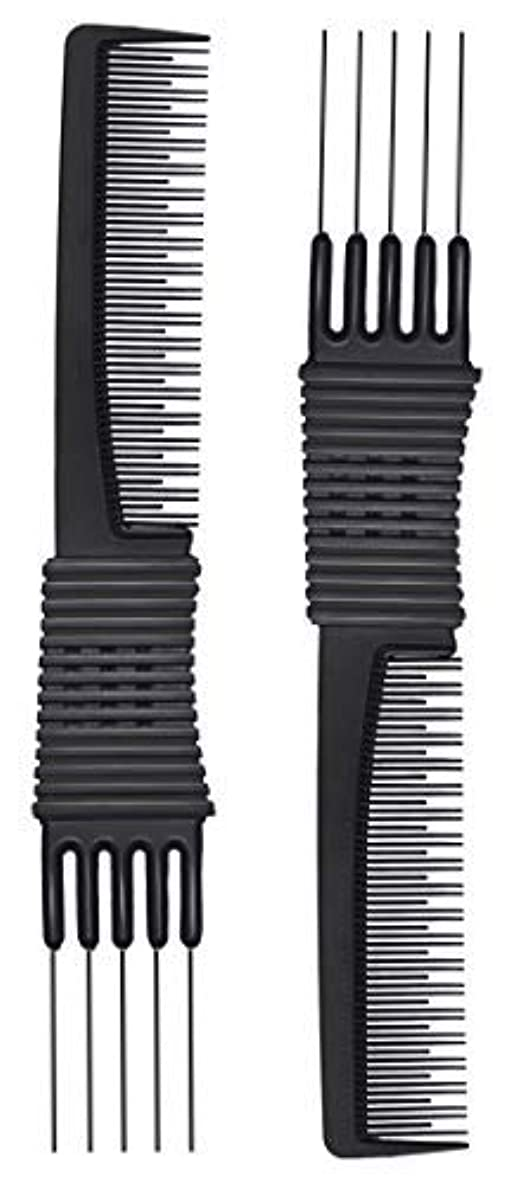 太字暖炉密2pcs Black Carbon Lift Teasing Combs with Metal Prong, Salon Teasing Lifting Fluffing Comb with 5 Stainless Steel...