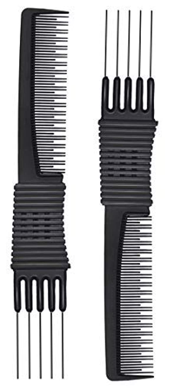 摂動万一に備えてパッド2pcs Black Carbon Lift Teasing Combs with Metal Prong, Salon Teasing Lifting Fluffing Comb with 5 Stainless Steel...