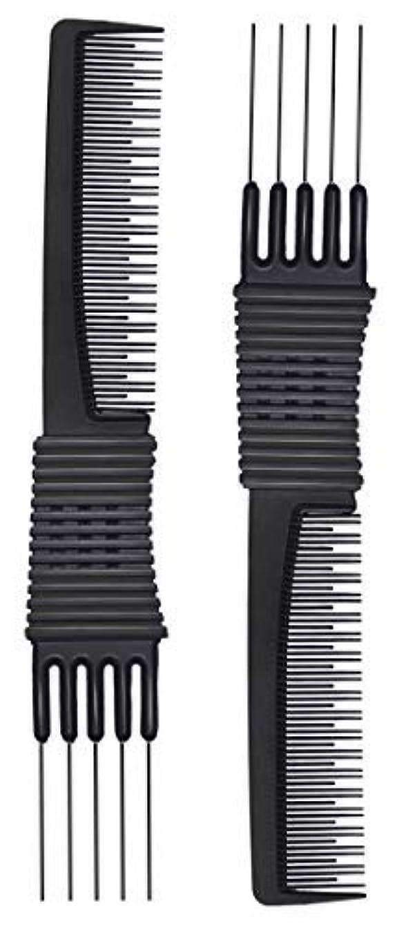 ファイル水平パイント2pcs Black Carbon Lift Teasing Combs with Metal Prong, Salon Teasing Lifting Fluffing Comb with 5 Stainless Steel...