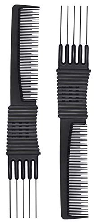 シットコムリブ形状2pcs Black Carbon Lift Teasing Combs with Metal Prong, Salon Teasing Lifting Fluffing Comb with 5 Stainless Steel...