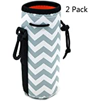 Orchidtent Protable Neoprene Insulated Water Drink Bottle Cooler Carrier Cover Sleeve Tote Bag Pouch Holder Strap for Kid Children Women Men Biker Travel Cycling Climbing Sports (Grey 2PACK)