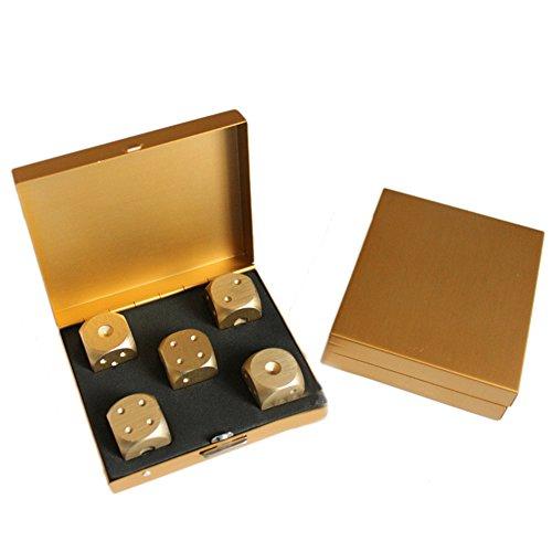 YideaHome メタルサイコロ 5個セット 幸運を呼ぶ 遊び道具 ボードゲームやすごろくに最適 精密アルミ合金 専用ケース付き