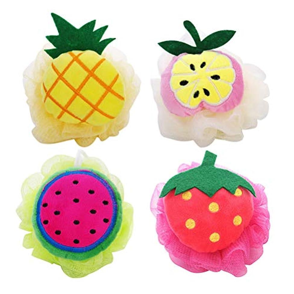 Healifty 4本 シャワーボール フルーツ ソフトバスボールメッシュスポン 可愛い 子供用(パイナップル スイカ アップル イチゴ)