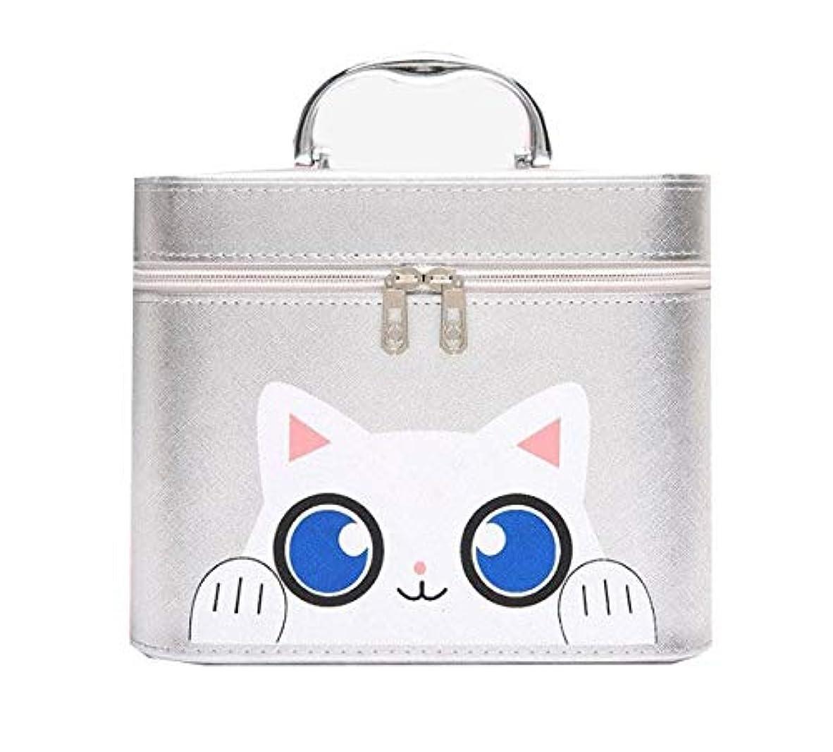 傘刺繍ジャングル化粧箱、シルバー漫画猫化粧品ケース、ポータブル旅行化粧品ケース、美容ネイルジュエリー収納ボックス (Size : L)
