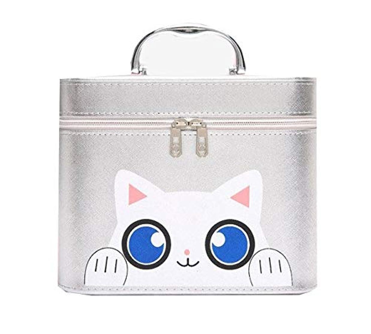 郵便局月曜日対応化粧箱、シルバー漫画猫化粧品ケース、ポータブル旅行化粧品ケース、美容ネイルジュエリー収納ボックス (Size : L)