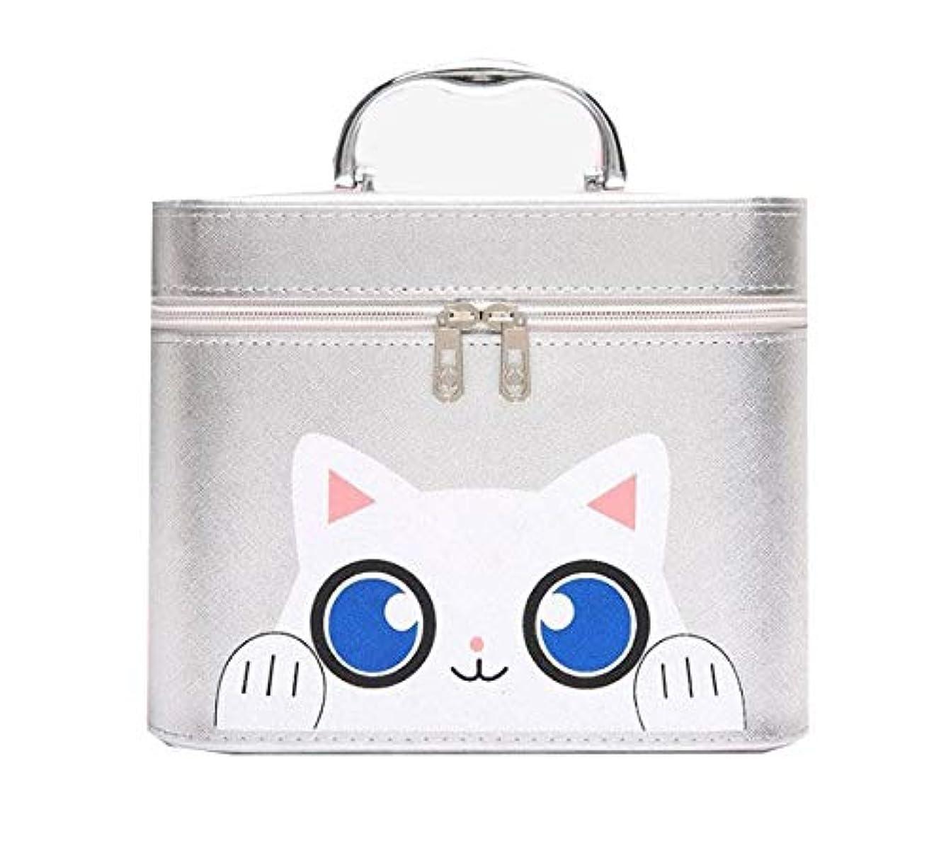 プライバシー亡命つぶやき化粧箱、シルバー漫画猫化粧品ケース、ポータブル旅行化粧品ケース、美容ネイルジュエリー収納ボックス (Size : L)