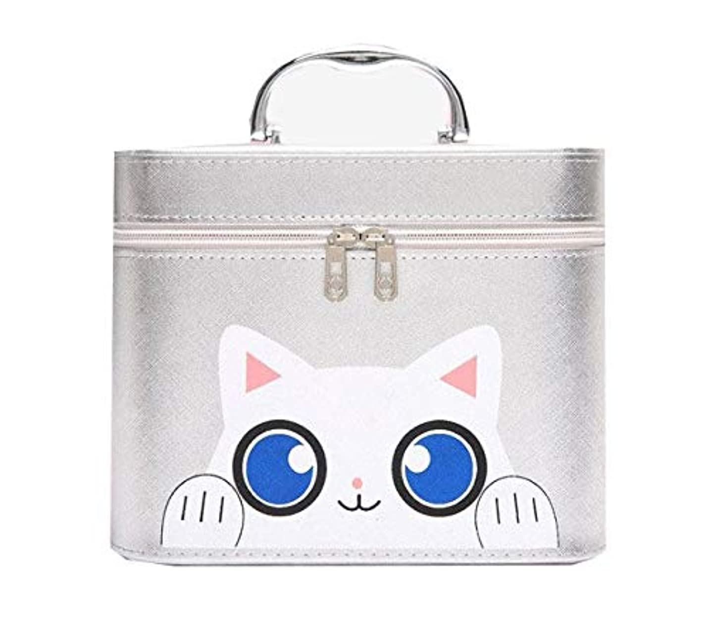 エンドテーブルコンデンサーのぞき穴化粧箱、シルバー漫画猫化粧品ケース、ポータブル旅行化粧品ケース、美容ネイルジュエリー収納ボックス (Size : L)