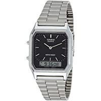 Casio AQ-230A-1D Retro Stainless Steel Black Face Analog Digital Watch