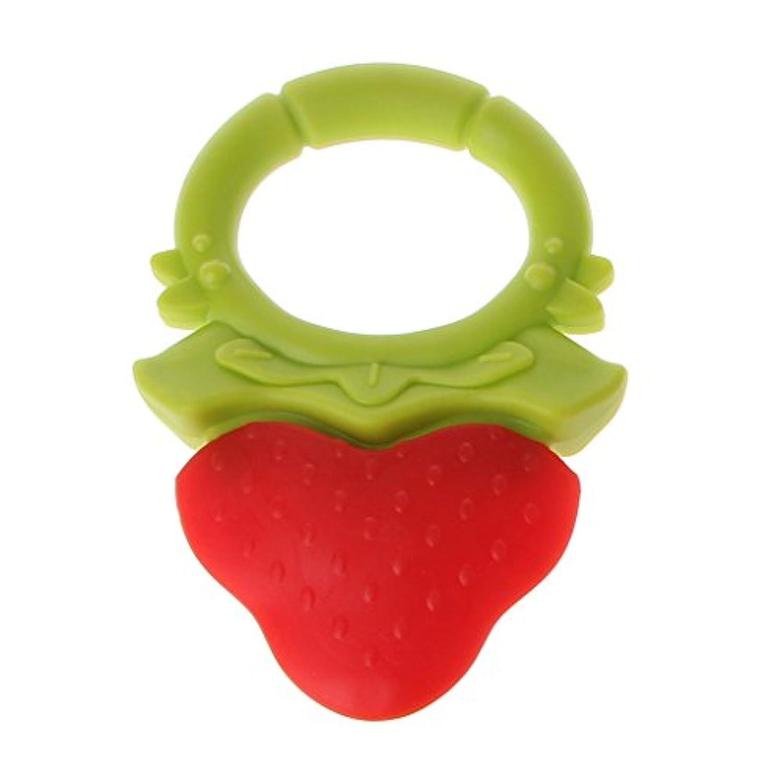 Dabixx シリコーン?テザー 赤ちゃんTeether 2色Teether 赤ちゃんの看護玩具噛むおもちゃの歯ぬいぐるみ玩具 - イチゴ
