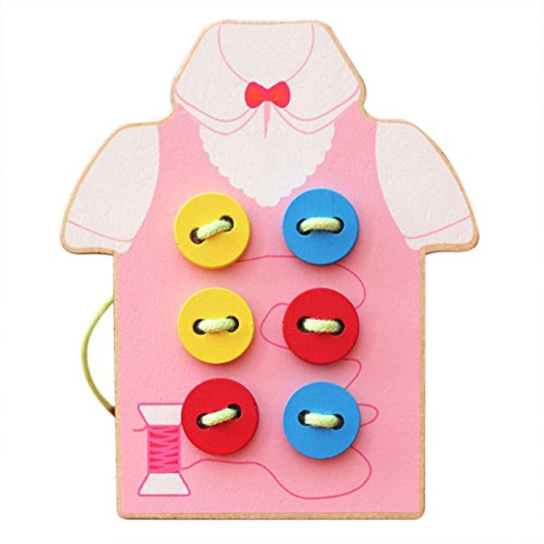 babyprice Kids FineモータースキルToy – --木製裁縫onボタン、Lacing Beadsボードおもちゃ、裁縫再生キット教育玩具幼児や就学