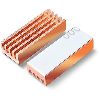 マルチ ヒートシンク 純銅製 接着シート付き サイズ 22mm × 8.2mm × 5.2mm IC-HSC01 (8個セット)